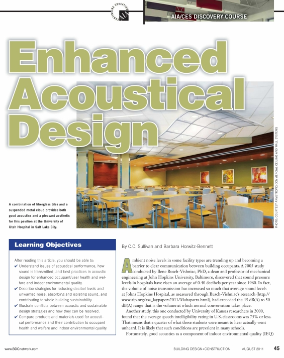 Building Design + Construction Enhanced Acoustical Design